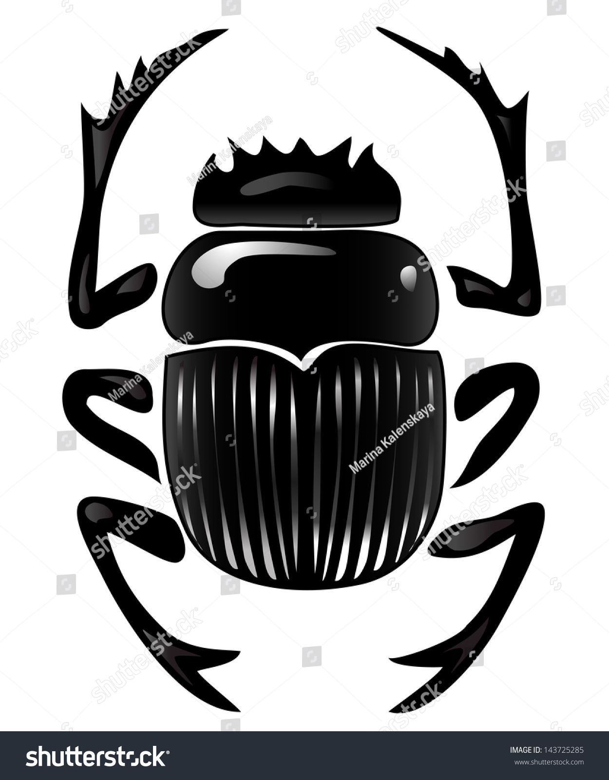 Graphical Representation Scarab Beetle Egyptian Symbol Stock Vector