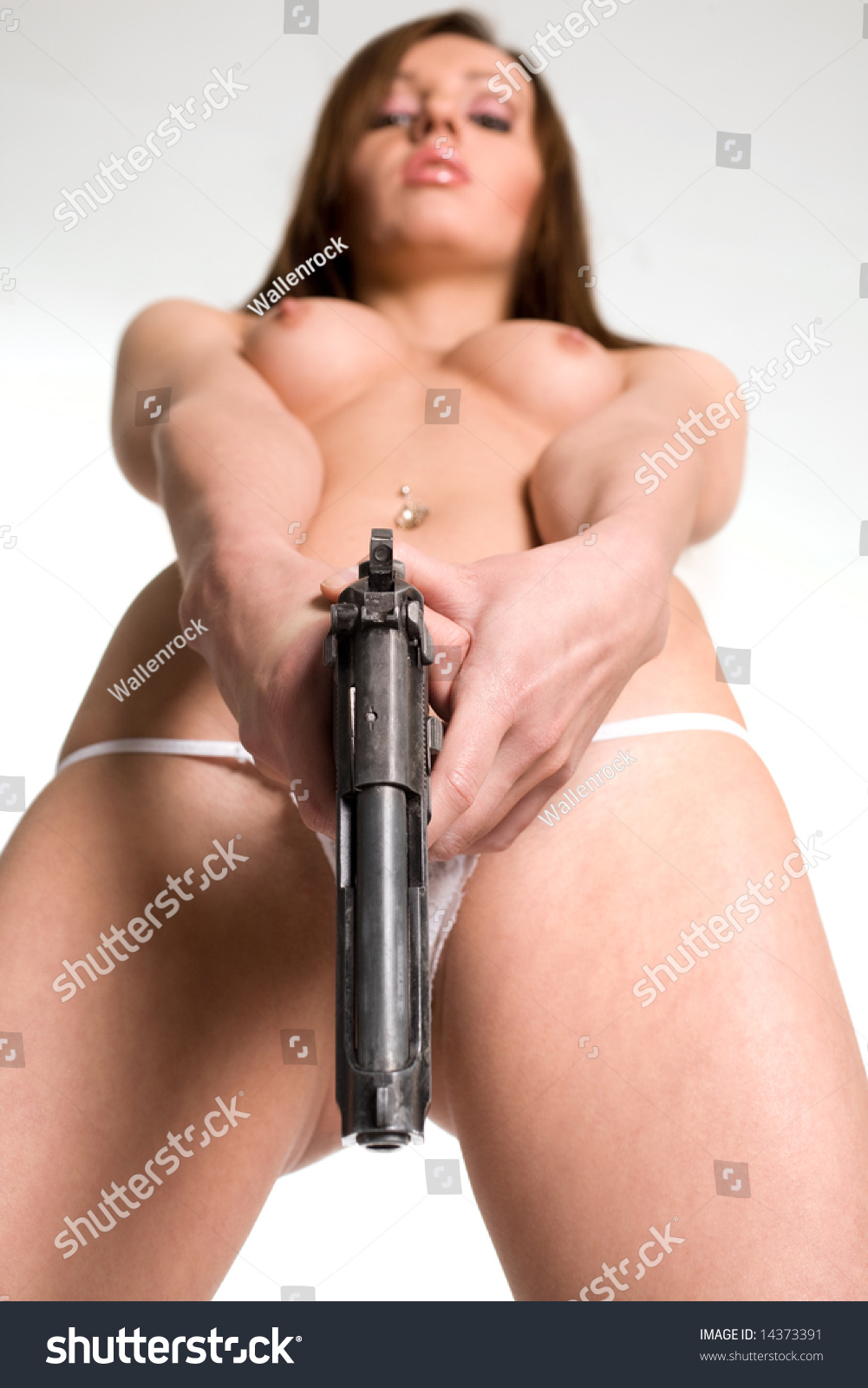 Sexy Naked Woman Gun Stock Photo 14373391 - Shutterstock-7290