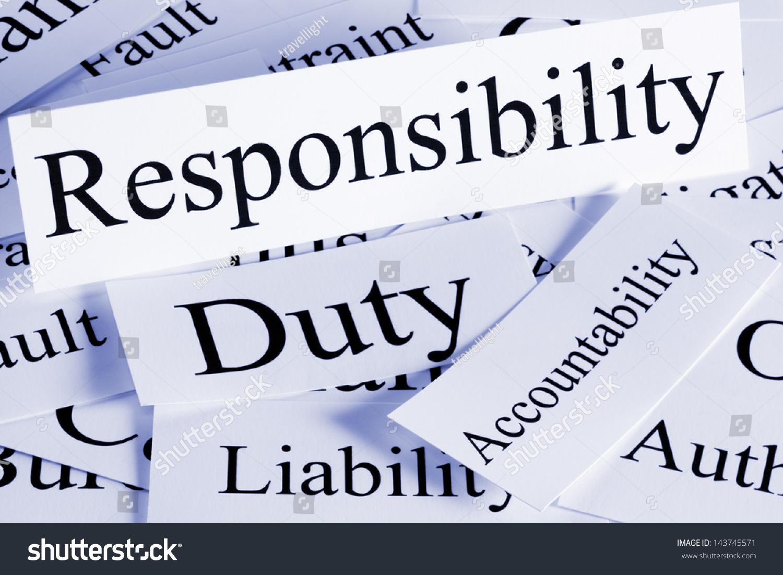 conceptual look responsibility duty accountability liability stock