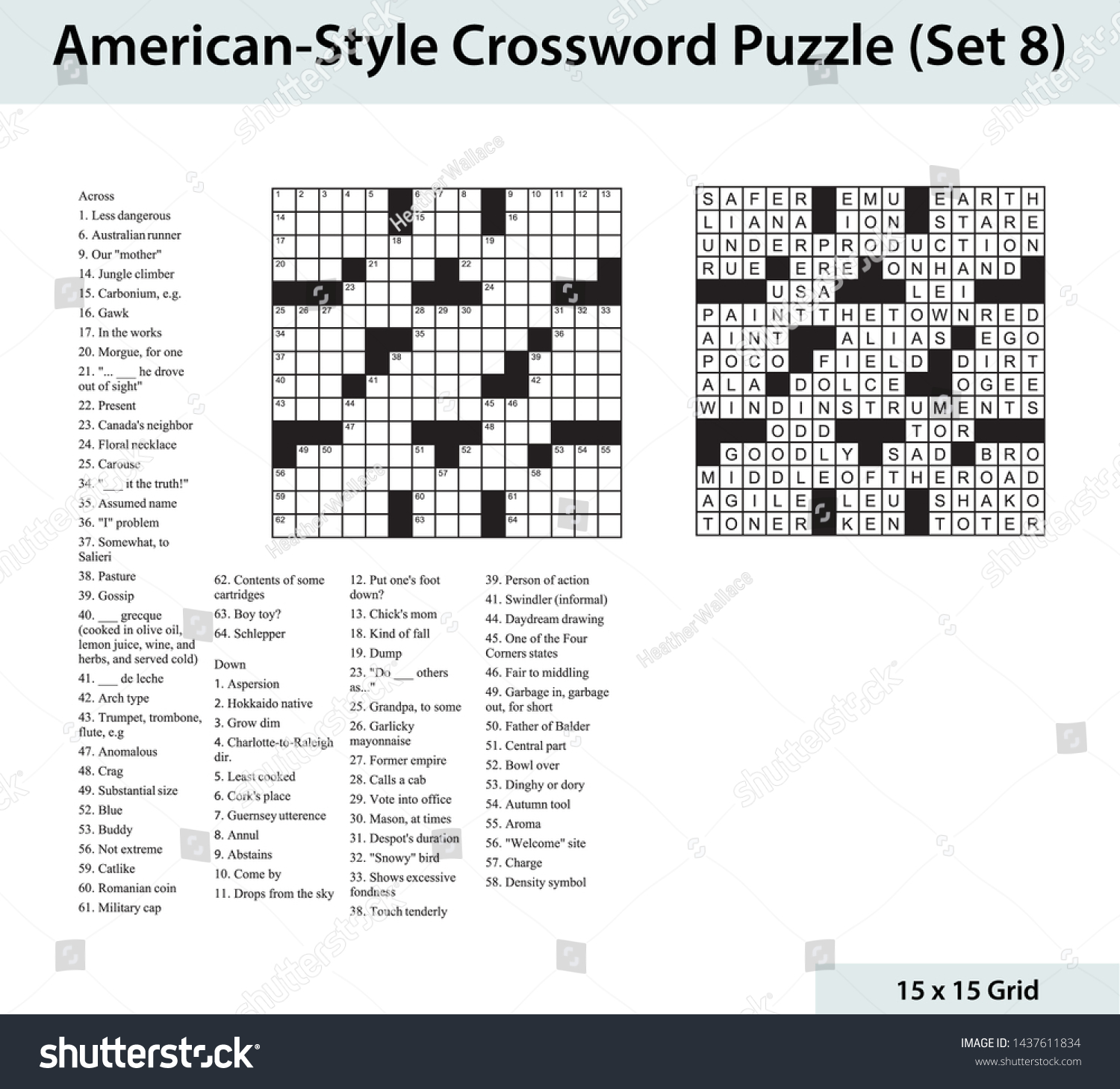 American Crossword Puzzle 15 X 15 Stock Vector Royalty Free 1437611834