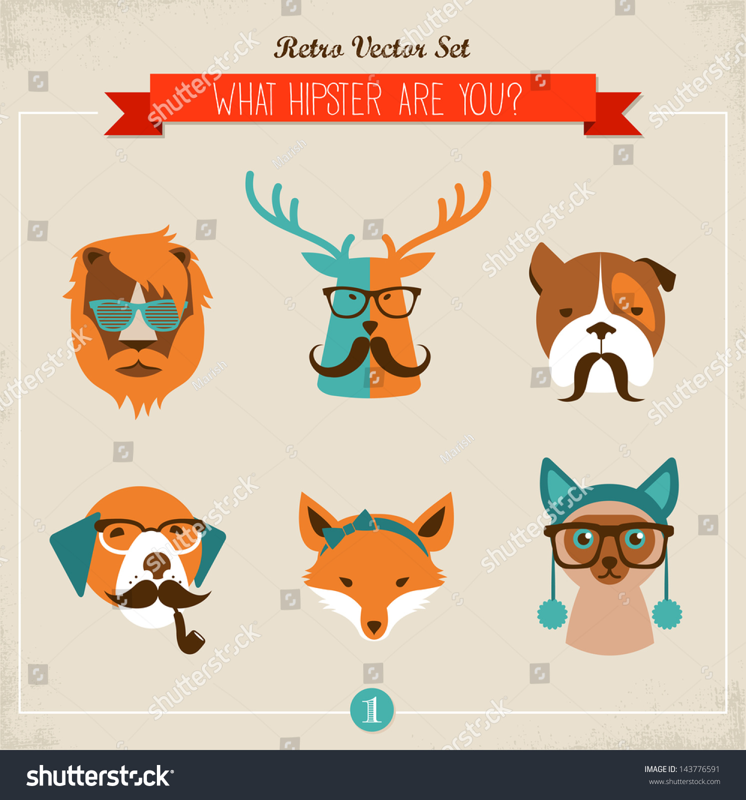 7c07bf6352a Cute Fashion Hipster Animals Pets Set Stock Vector (Royalty Free ...