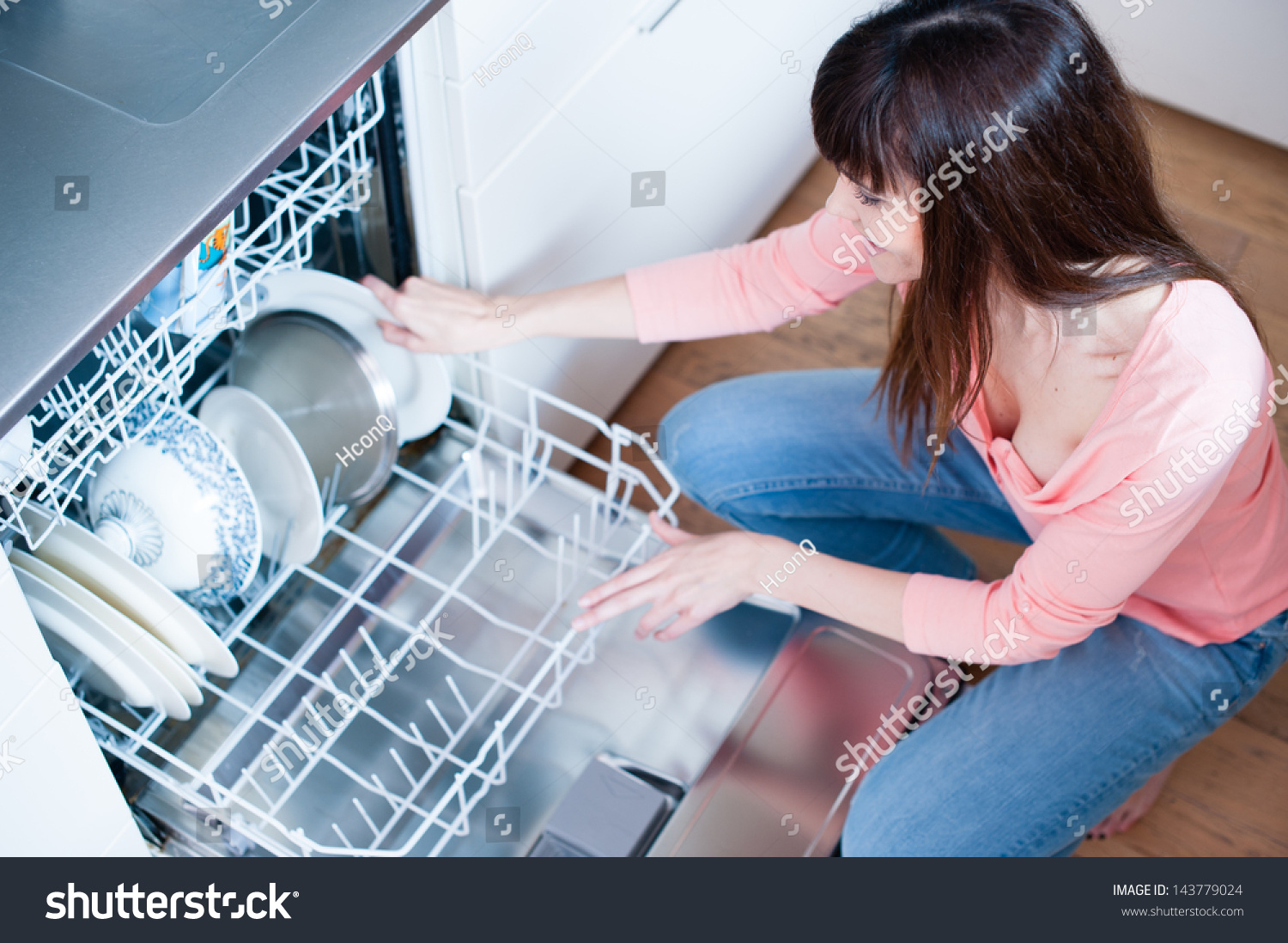 Side View Young Woman Kitchen Doing Stock Photo (Royalty Free ...