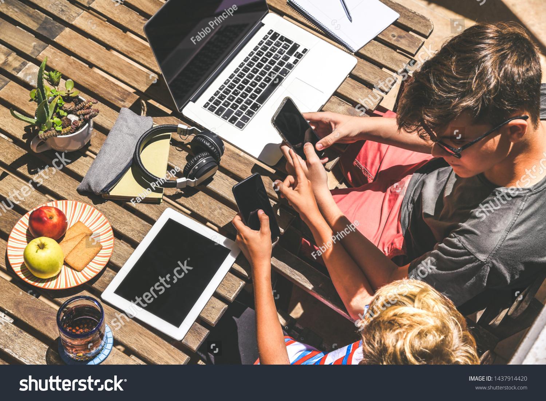 Friends Having Fun Playing Tech Modern Stock Photo Edit Now