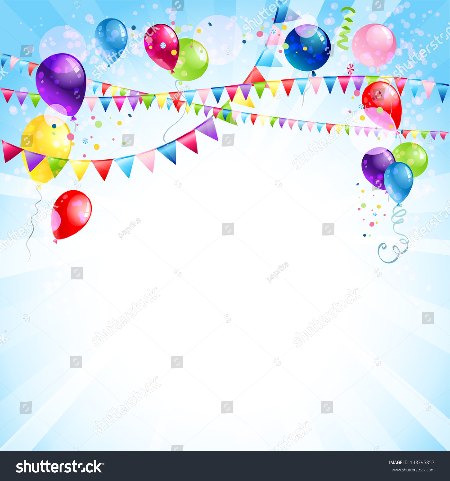 Holiday Background With Colorful Balloons, Hanging Flags And Con ...