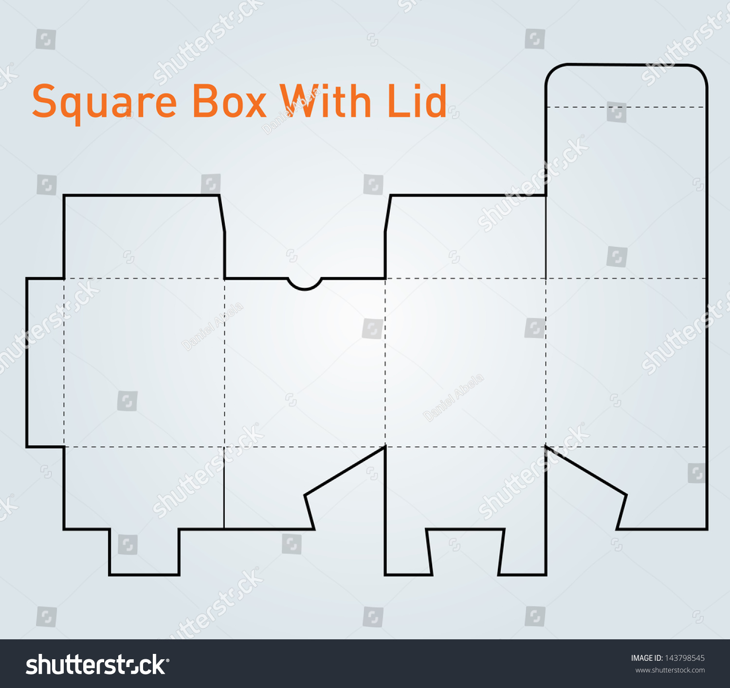 Packaging Square Box With Lid Template Vector - 143798545 ...