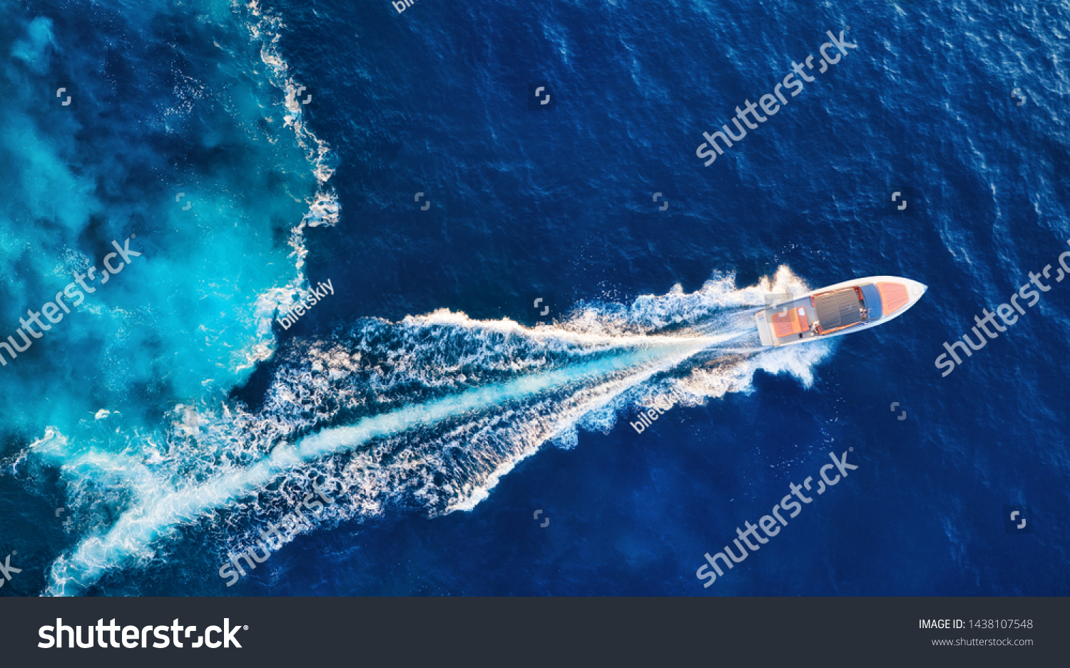 Croatia. Yachts at the sea surface. Aerial view of luxury floating boat on blue Adriatic sea at sunny day. Travel - image #1438107548