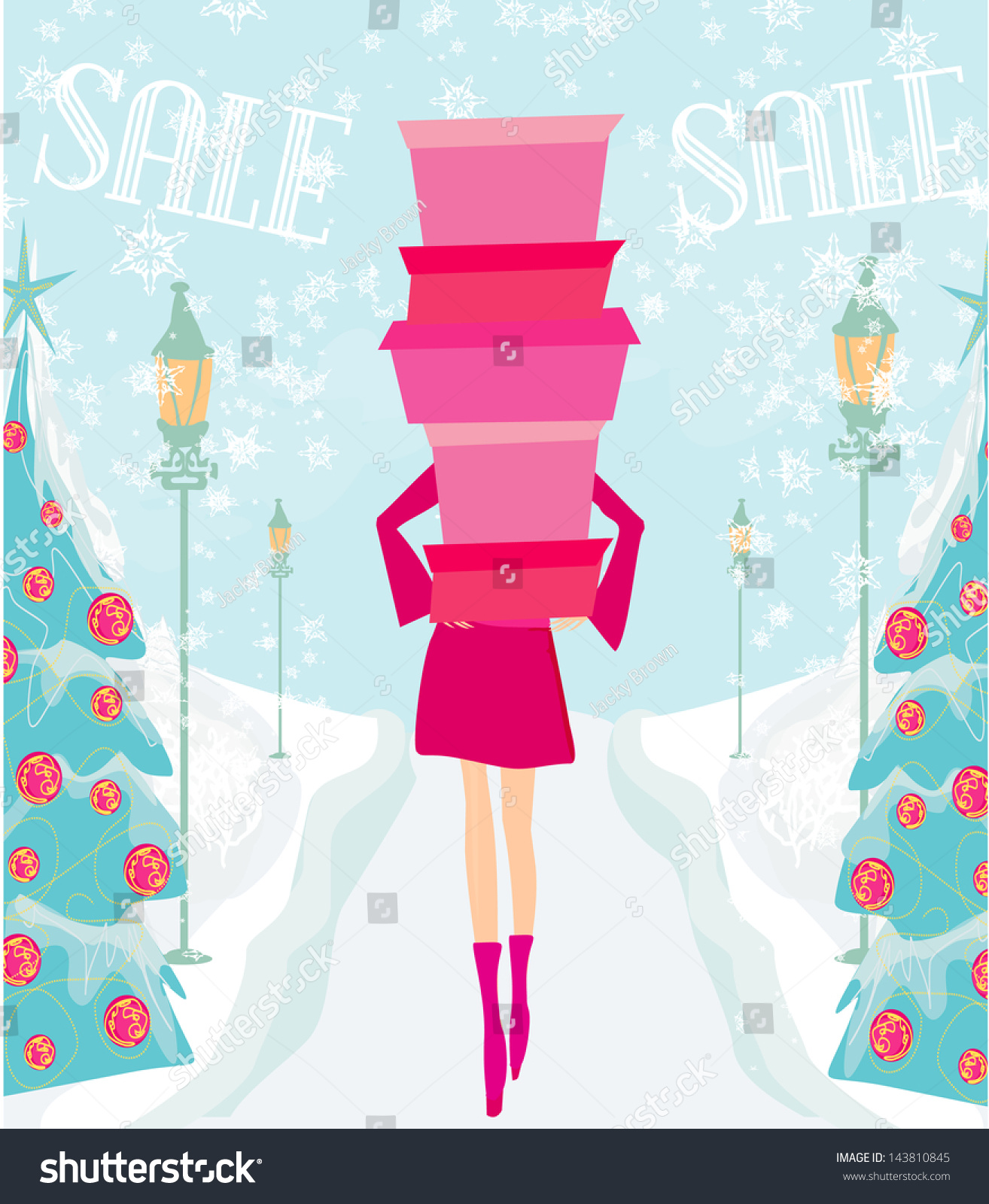 Christmas Shopping Winter Sale Card Stock Vector Royalty Free 143810845