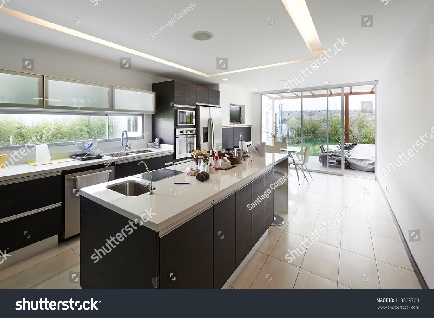 Interior design modern big kitchen stock photo 143839720 shutterstock Modern houses interior kitchen