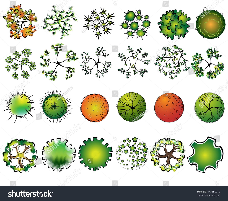 Set Of Colored Treetop Symbols For Architectural Or Landscape Design