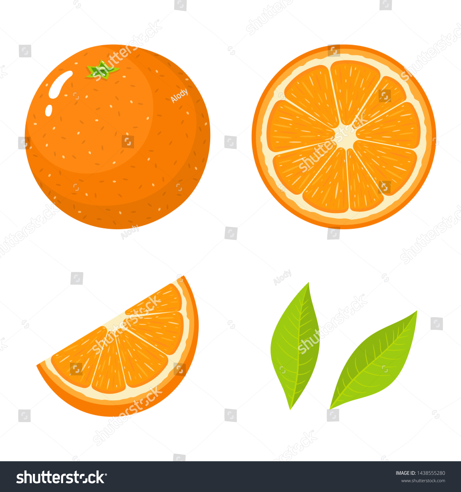 Set of fresh whole, half, cut slice and leaves orange fruit isolated on white background. Tangerine. Organic fruit. Cartoon style. Vector illustration for any design. #1438555280