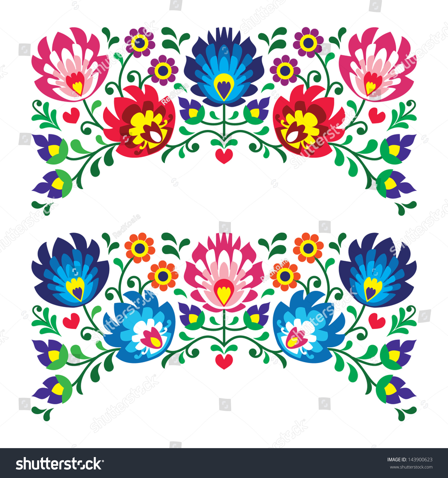 Polish floral folk embroidery patterns card stock vector
