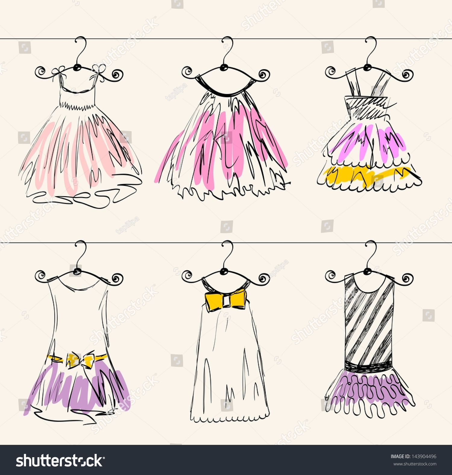 fashionable beautiful clothes little girls stock vector