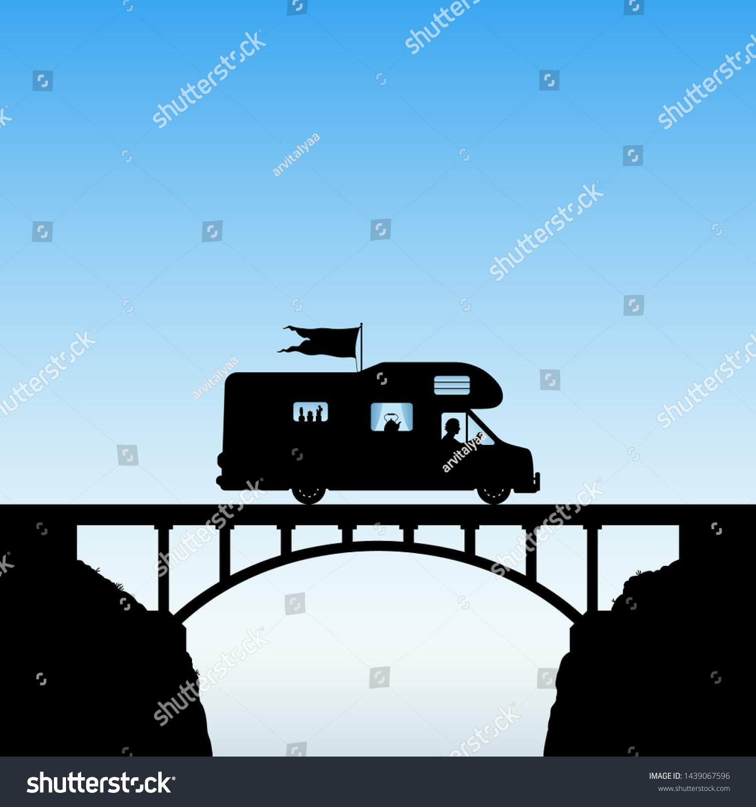 Cartoon Retro Car On Bridge Vector Stock Vector Royalty Free 1439067596