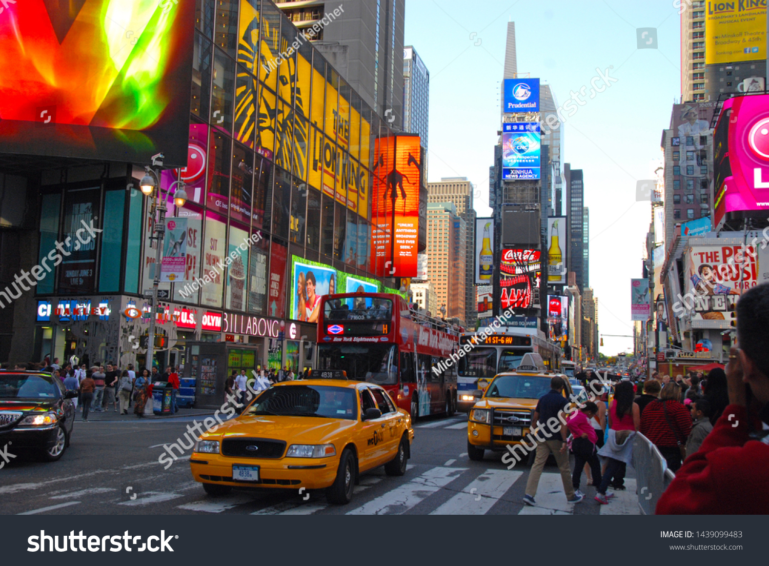 Photography Cityscape Times Square New York USA Billboard Taxi Cab Canvas Print