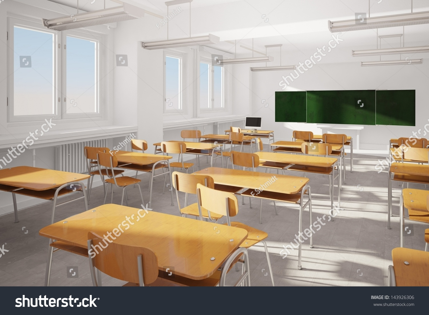 Modern Classroom Board ~ Old classroom with modern computer and green board stock