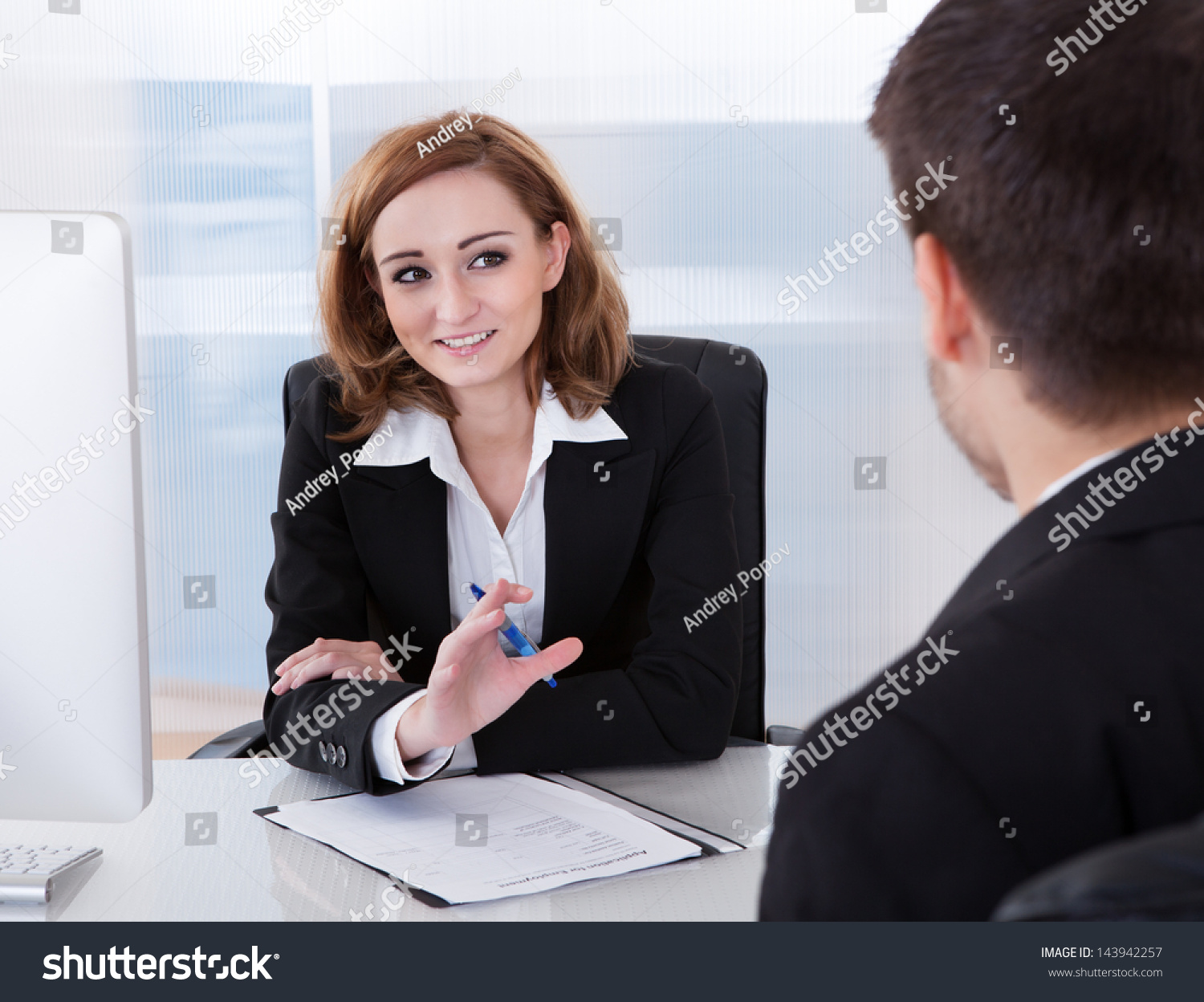 Two Businesspeople Talking Each Other Office 143942257