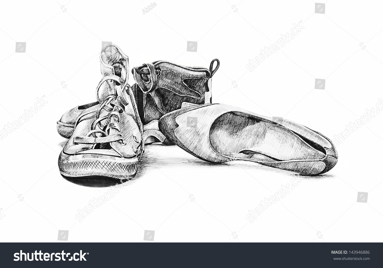 Hand Drawn Sketch Old Worn Shoes Stock Illustration 143946886 ...