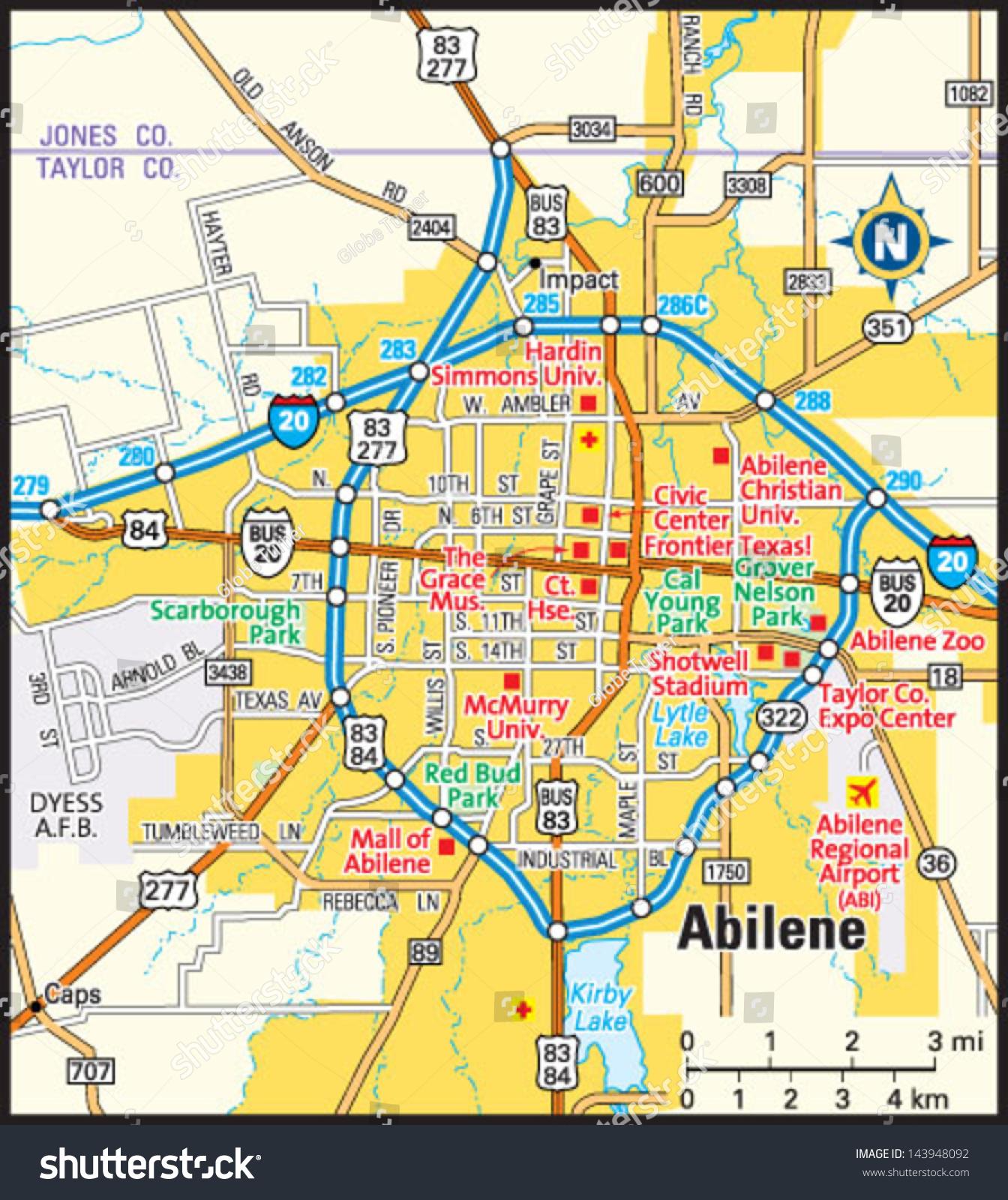 Abilene Texas Area Map Stock-vrgrafik 143948092 - Shutterstock on