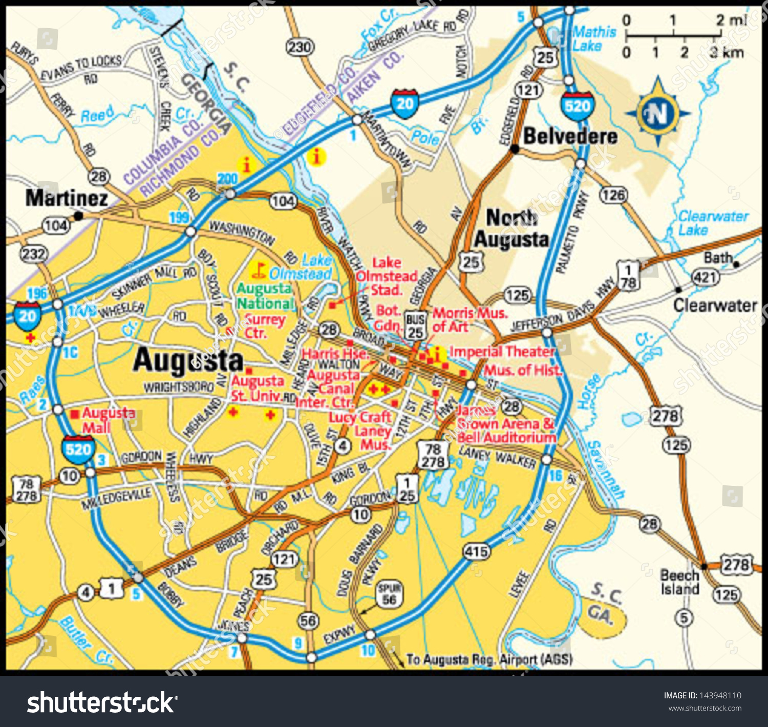 Map Of Augusta Georgia And Surrounding Area.Augusta Georgia Area Map Stock Vector Royalty Free 143948110