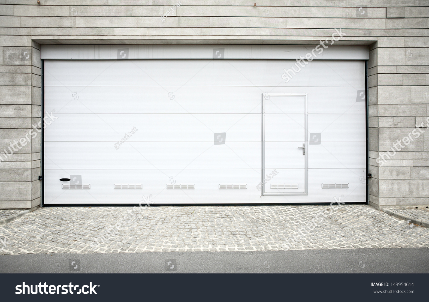 Modern garage door large automatic over stock photo 143954614 ...
