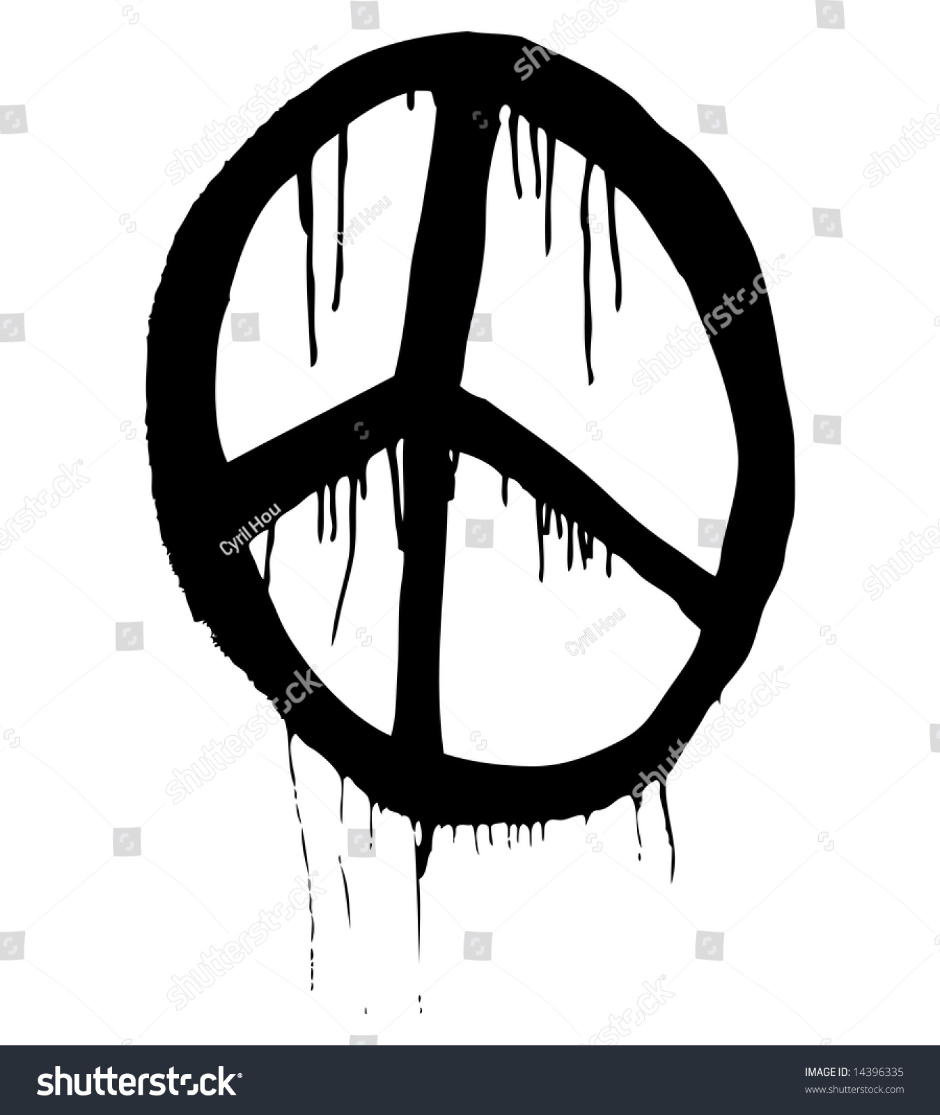 Grungy Illustration Peace Symbol Stock Illustration 14396335