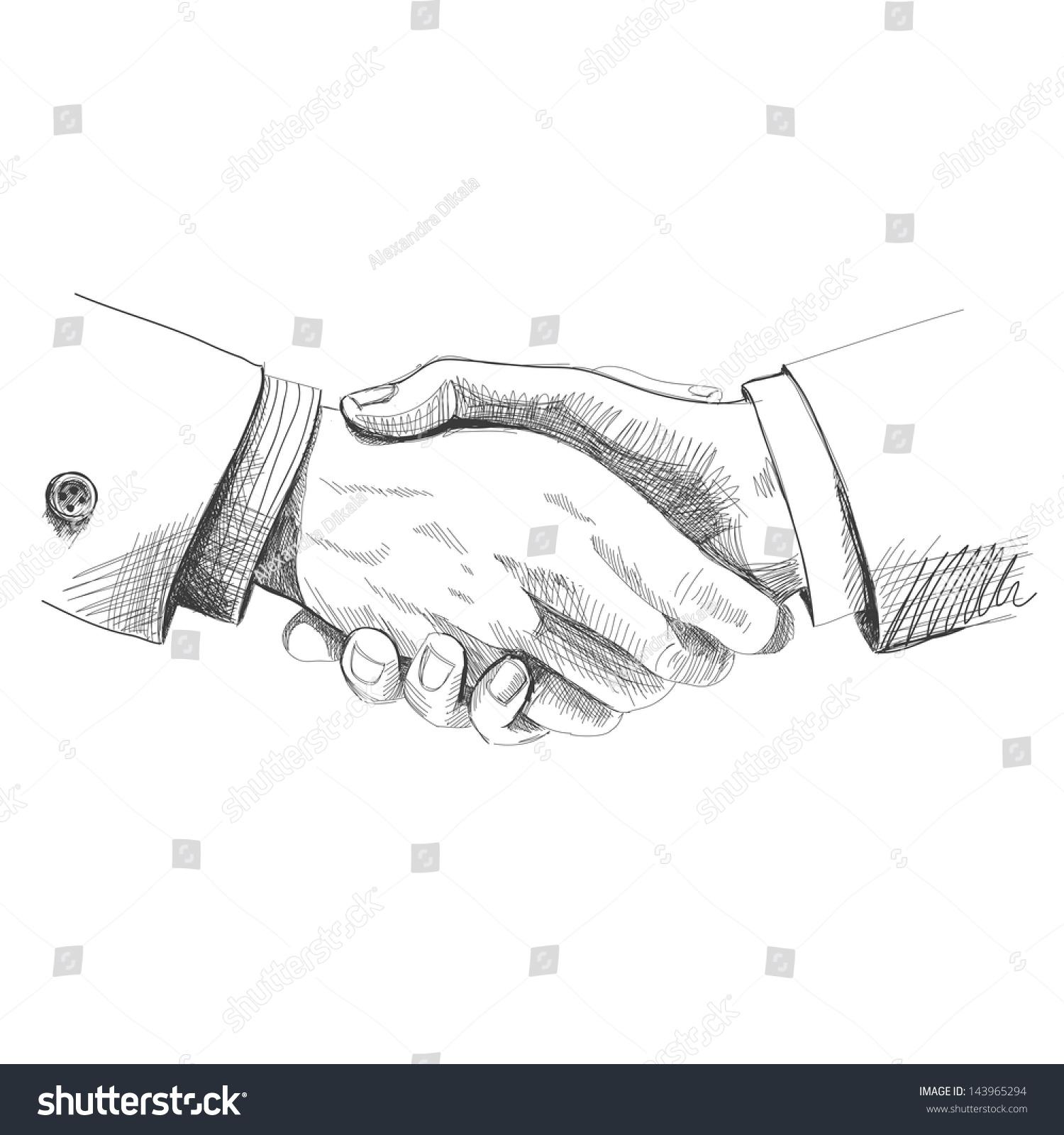 Partneship. Sketch Handshake Stock Vector Illustration ...