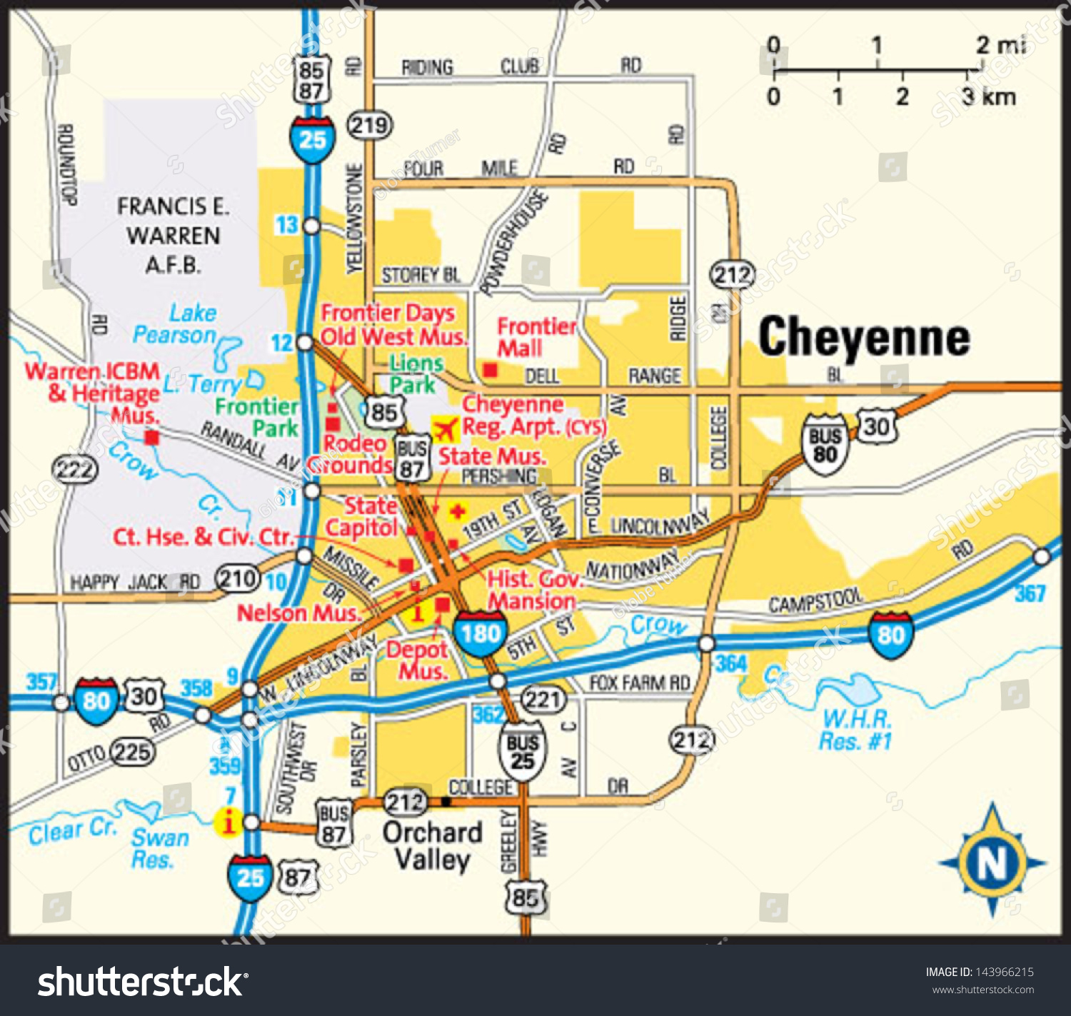 Cheyenne Wyoming Area Map Stock Vector (Royalty Free) 143966215 on