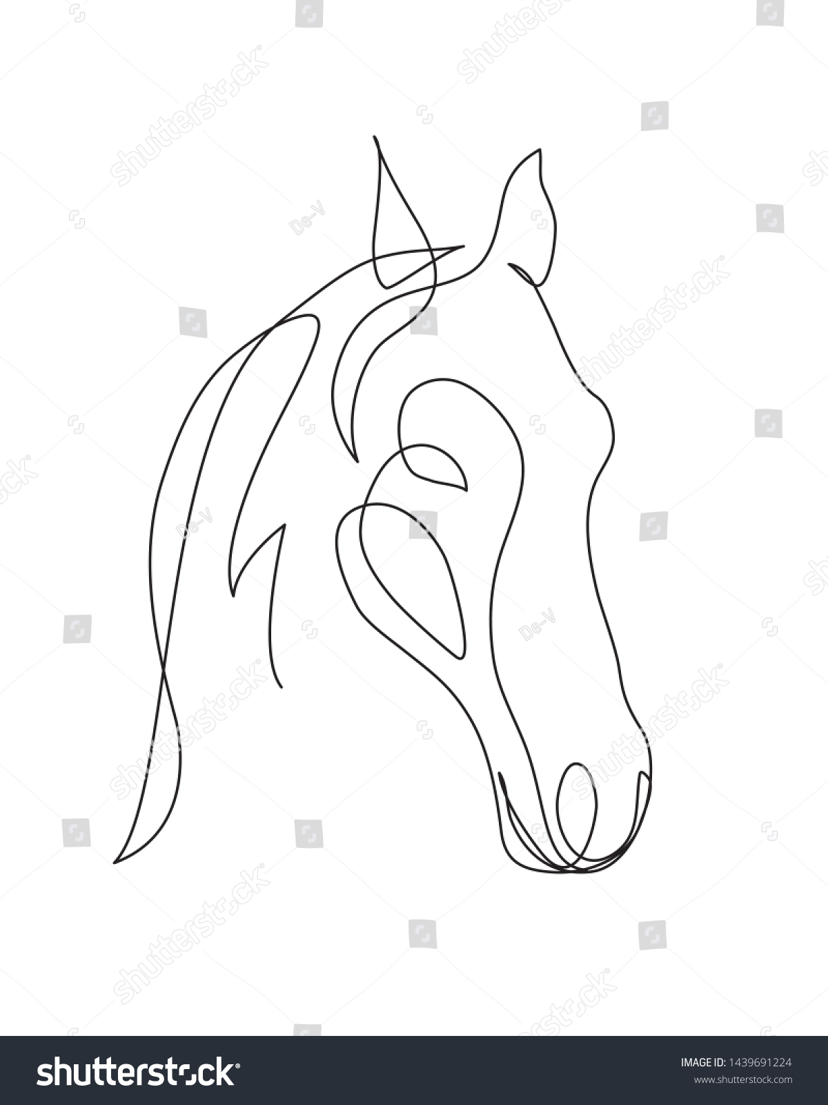 Horse Head Continuous One Line Drawing Stock Vector Royalty Free 1439691224