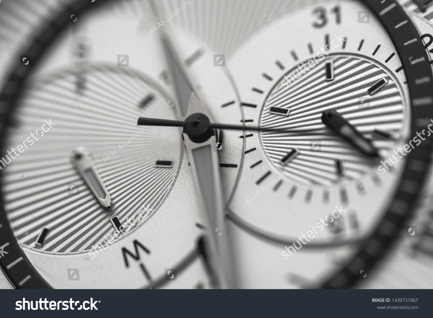Closeup to watch clockwise, time concept