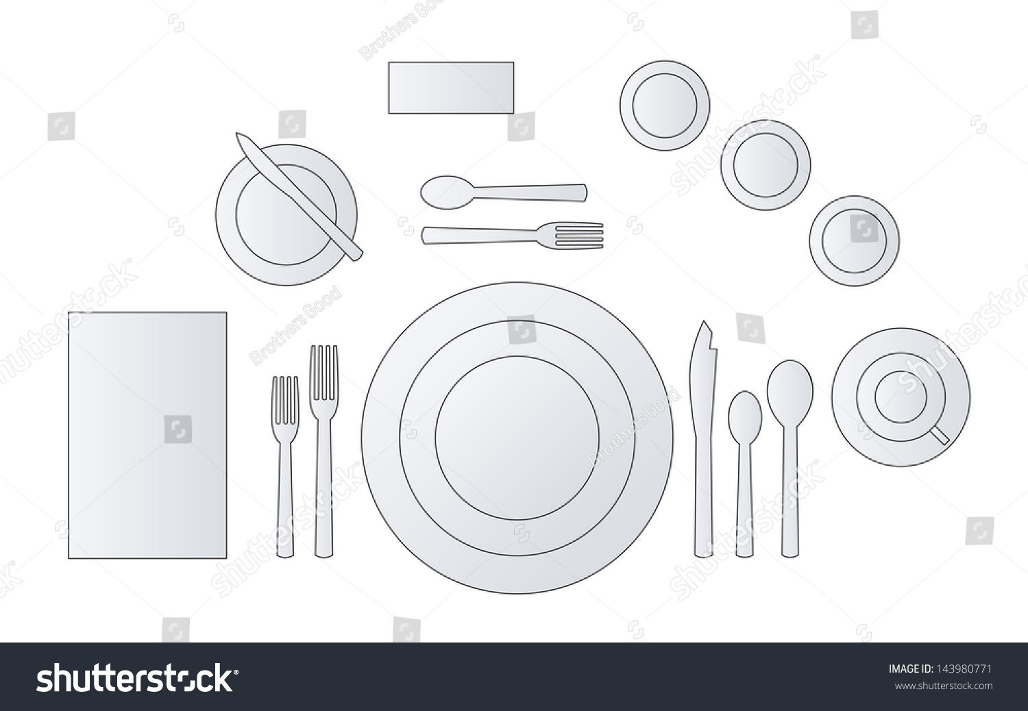 Place setting diagram formal dinner vector stock vector for Place setting images