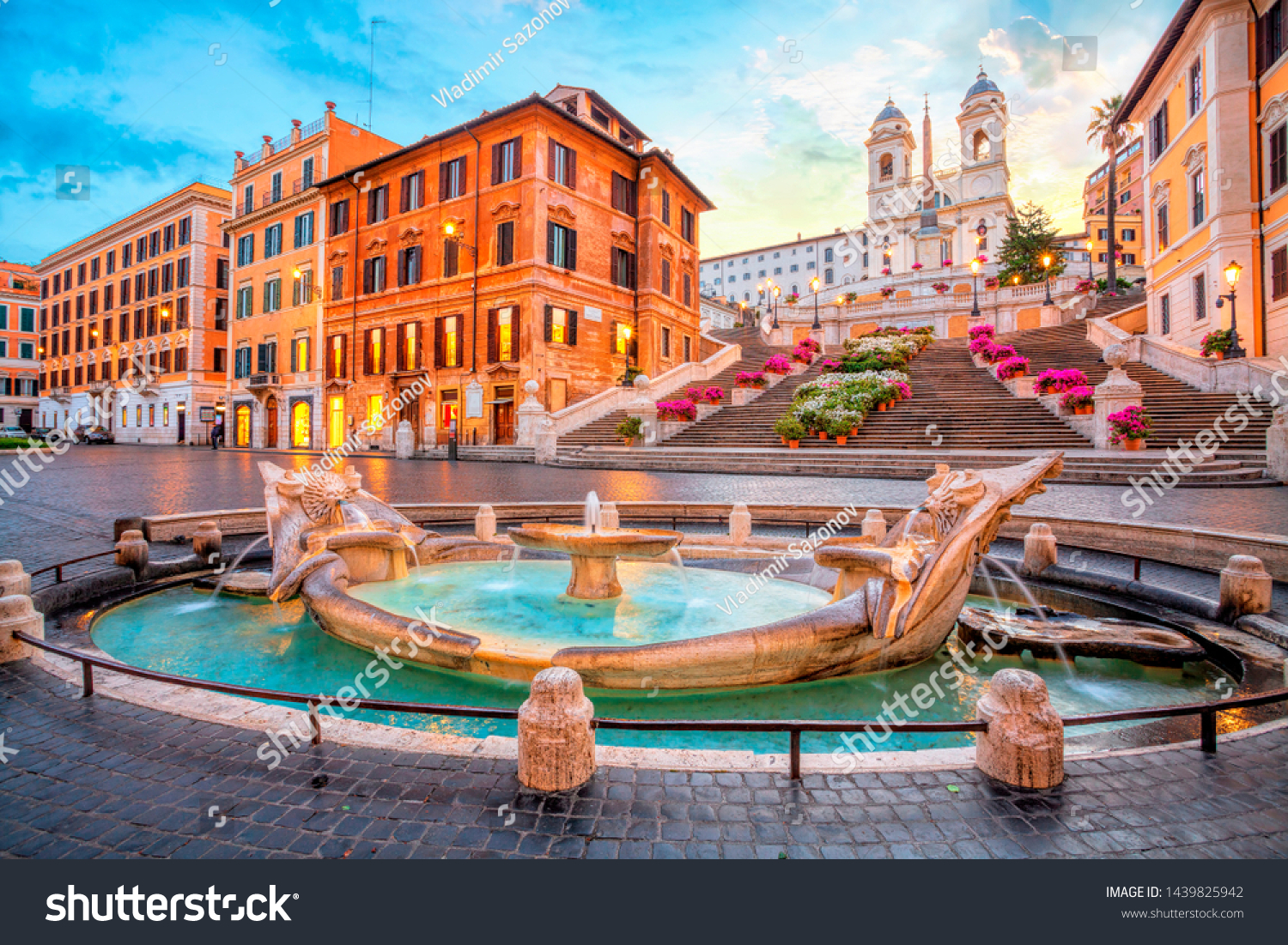 Piazza de Spagna in Rome, italy. Spanish steps in the morning. Rome architecture and landmark. #1439825942
