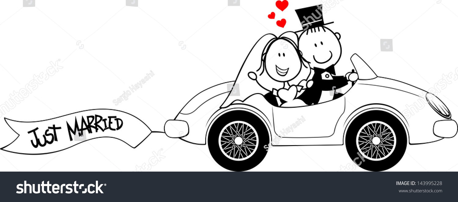 Bride Groom On Car Isolated On Stock Vector 143995228 - Shutterstock