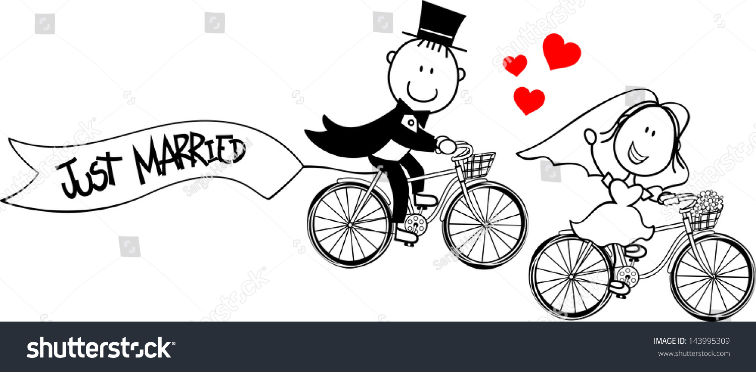 Bride groom on bycicles isolated on stock vector royalty free bride and groom on bycicles isolated on white background ideal for funny wedding invitation stopboris Images