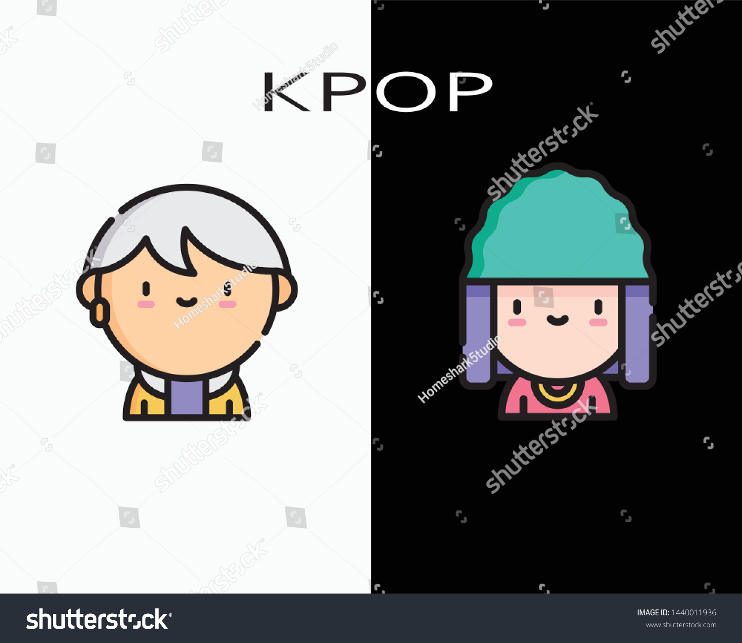 stock vector set cute kpop cartoon icon on black and white background fashion style cool vector 1440011936