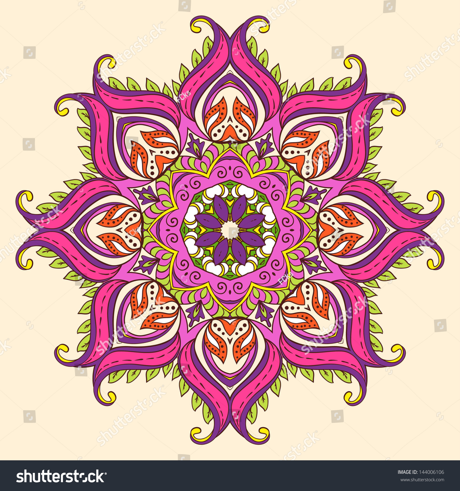 Vector Indian Decorative Lotus Fullblown Flower Stock Vector