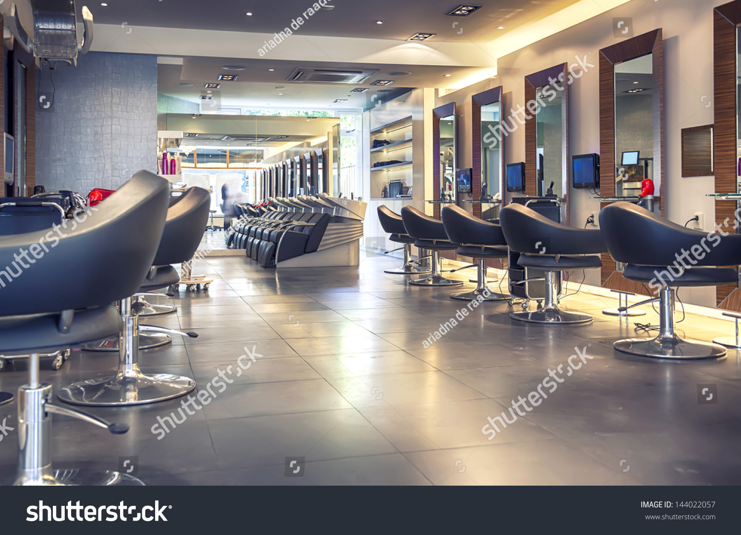 Interior Of Modern Hair Salon Stock Photo 144022057
