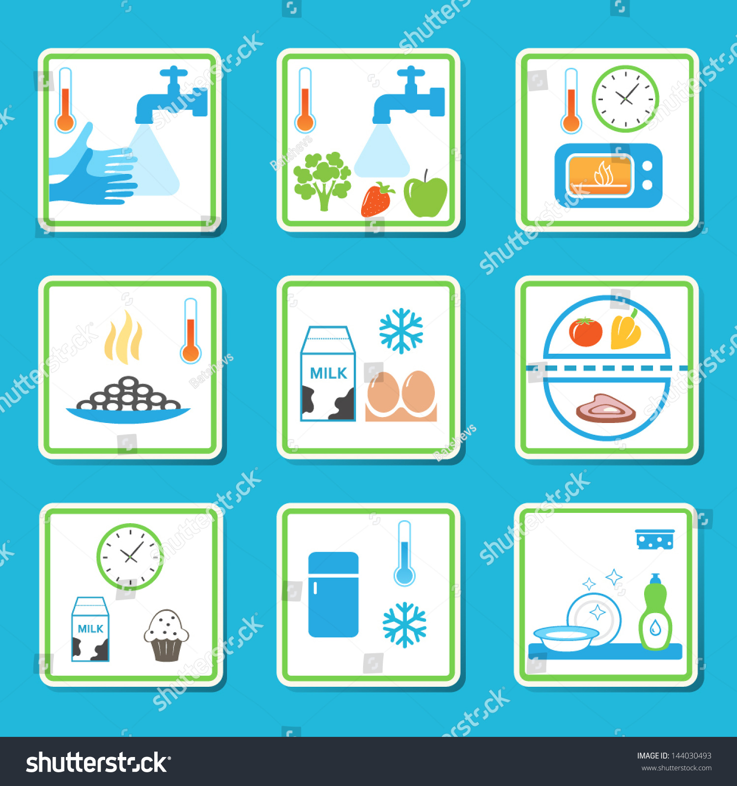 Food Safety Rules Infographics Healthy Eating Stock Vector 144030493 ...