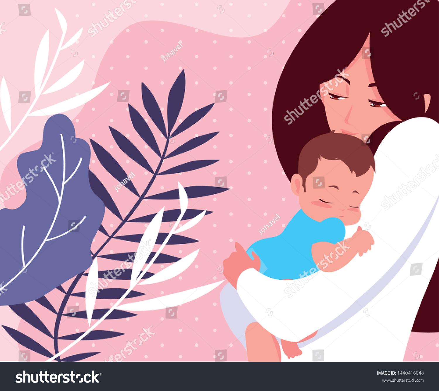 Cute Mother Little Son Leafs Tropical Stock Vector Royalty Free 1440416048