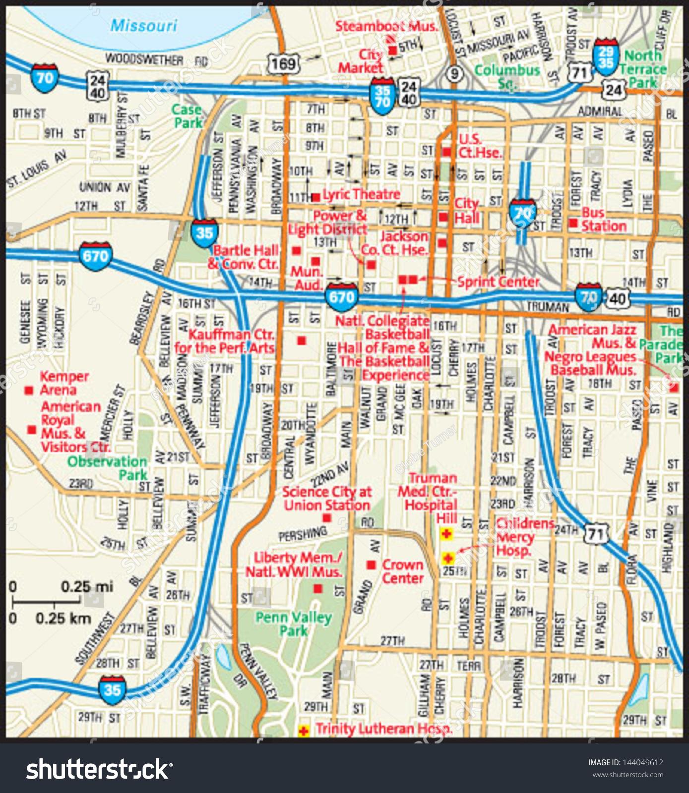 map kansas city missouri Kansas City Missouri Downtown Map Stock Vector Royalty Free map kansas city missouri