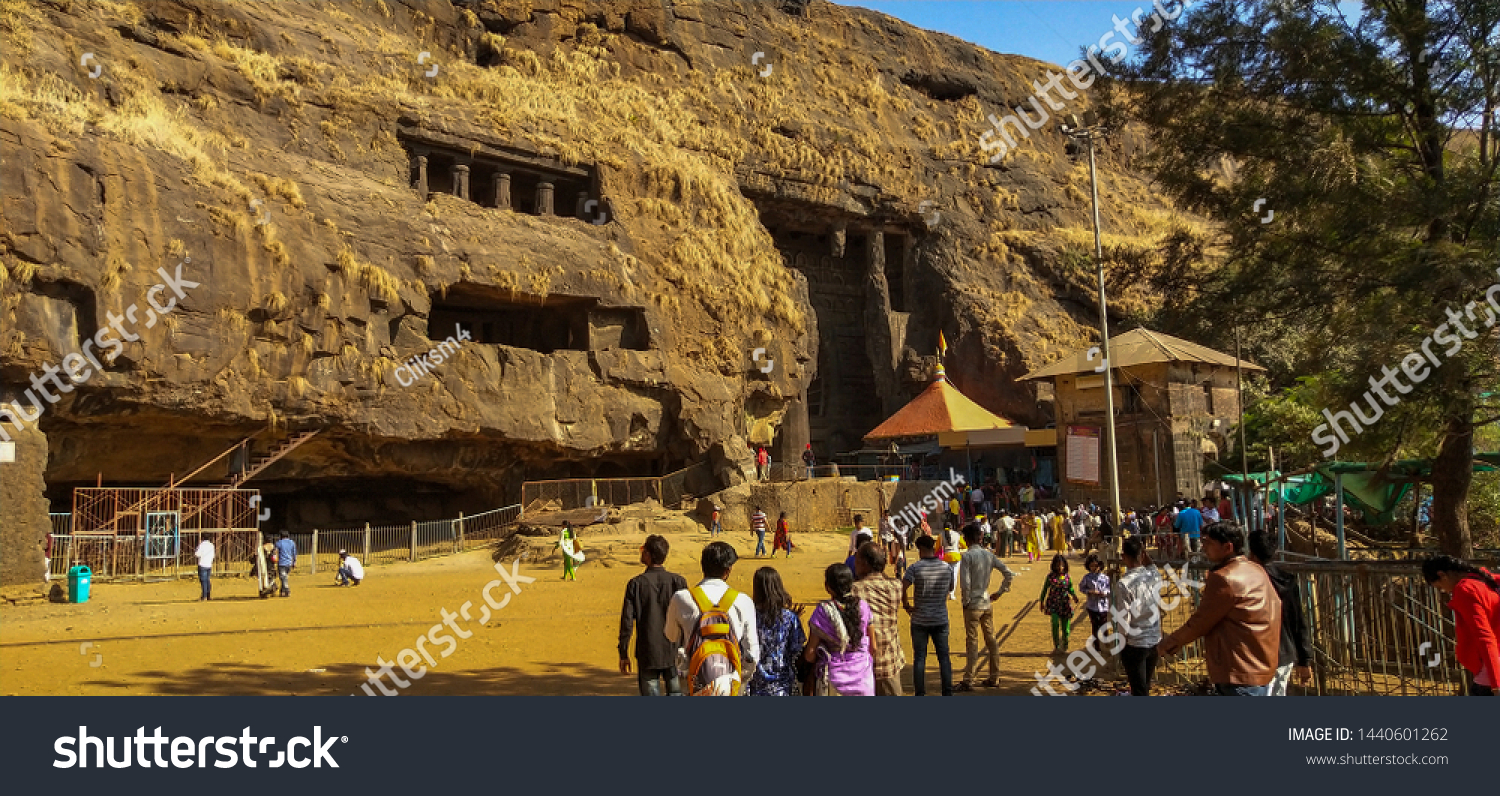 Lonavala,Maharashtra,India,January2019,karla caves lonavala amazing front view tourists around this world heritage site