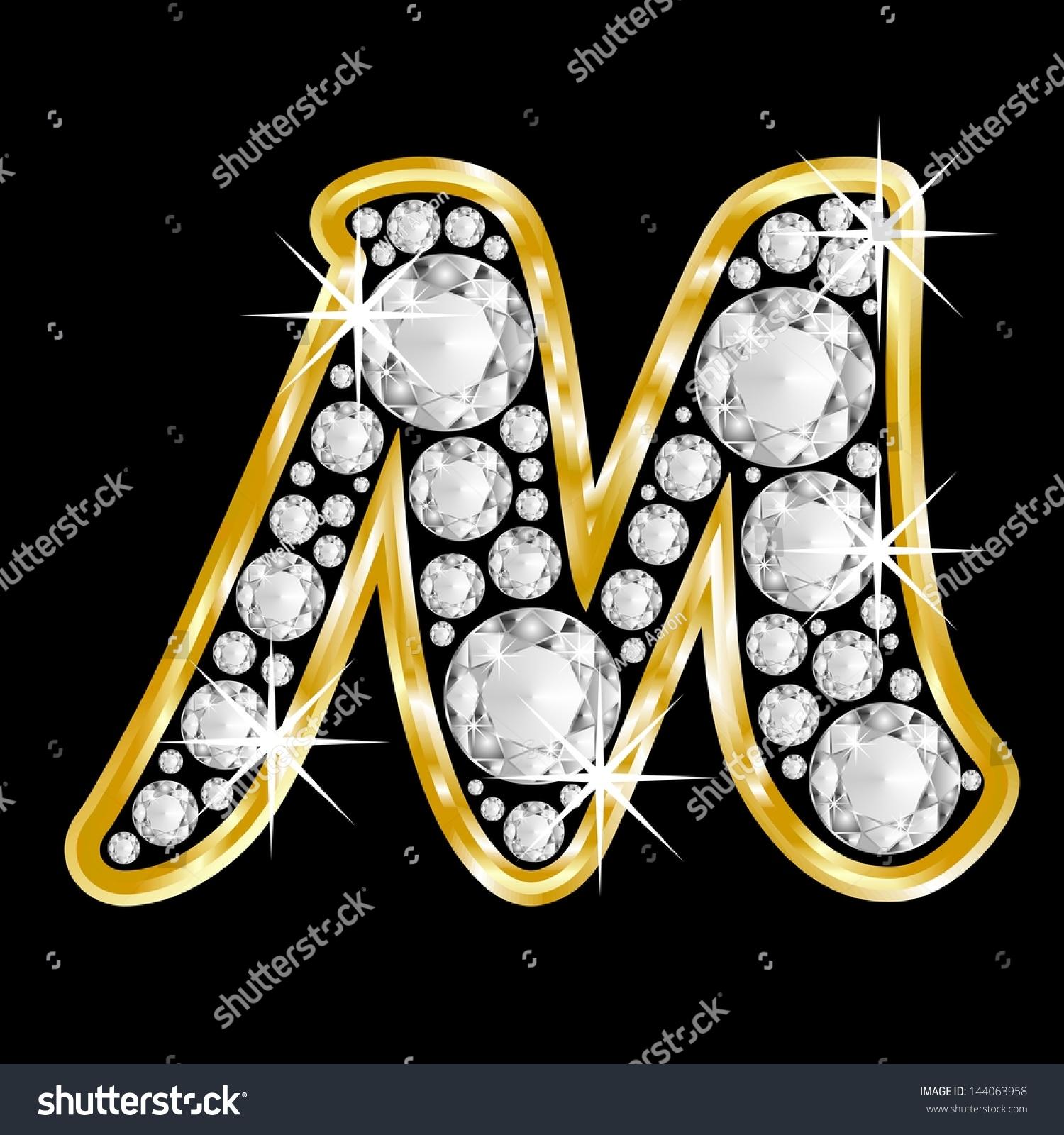 Gold Framed Alphabet Letter M Filled Stock Illustration
