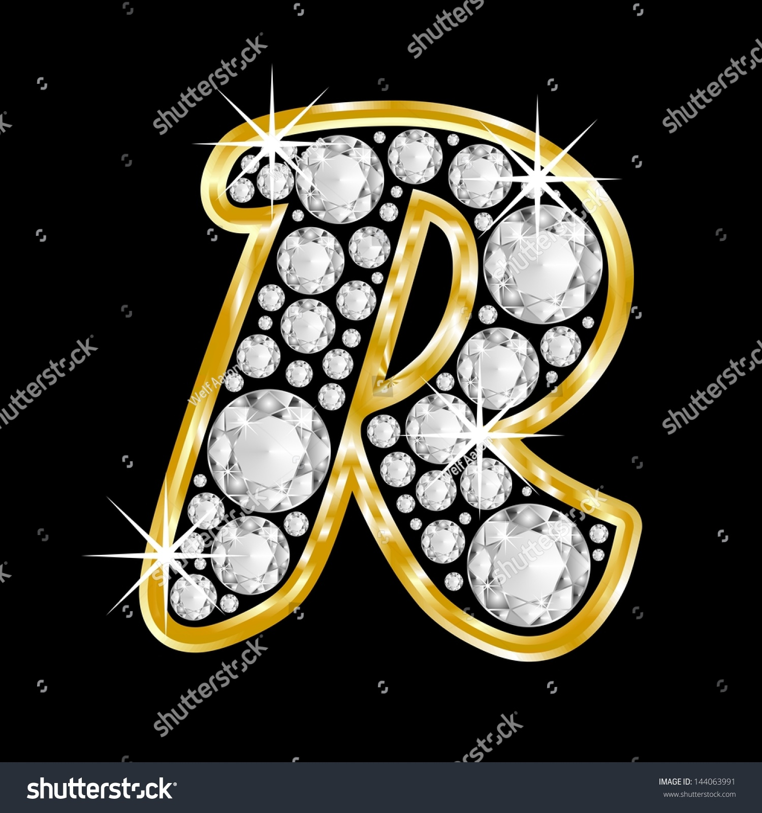 R Letter In Black Diamonds Gold Framed Alphabet L...