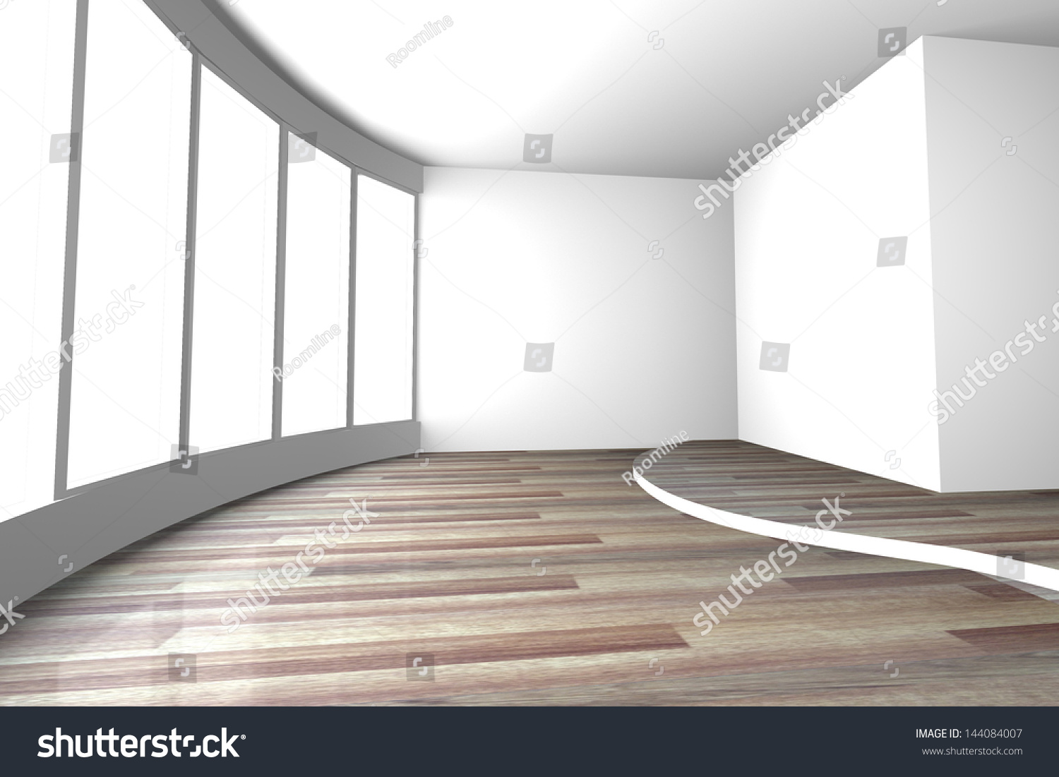 White Curve Space Empty Room For Interior Design Present Of Living Room And Meeting Room Stock