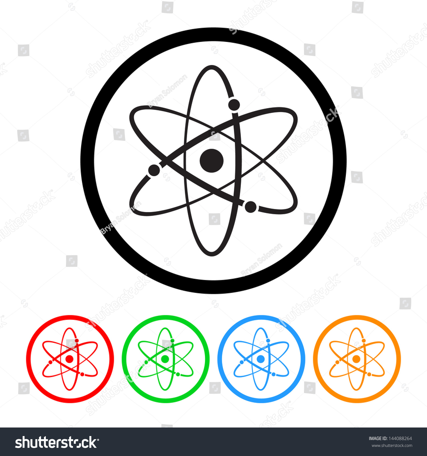 Atomic Symbol Icon Vector Four Color Stock Vector 144088264 ...