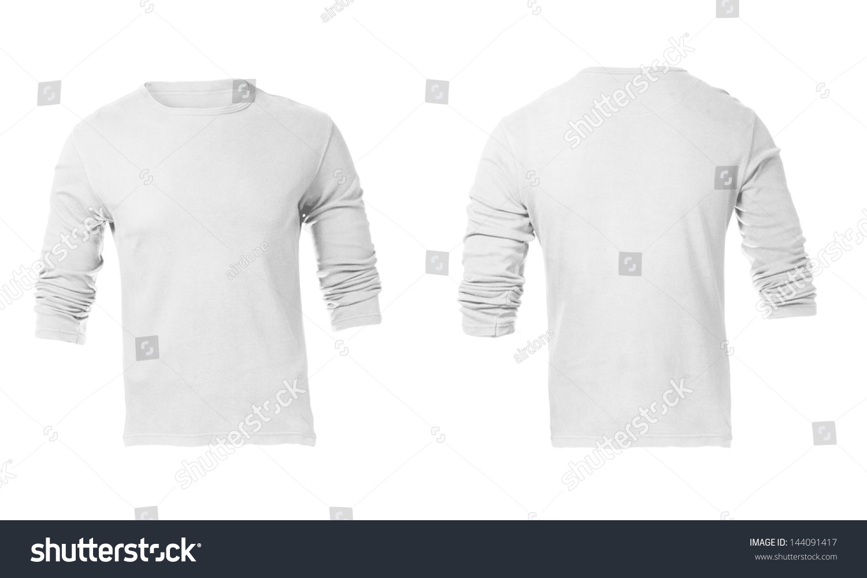 mens white long sleeve tshirt template stock photo 144091417 shutterstock. Black Bedroom Furniture Sets. Home Design Ideas