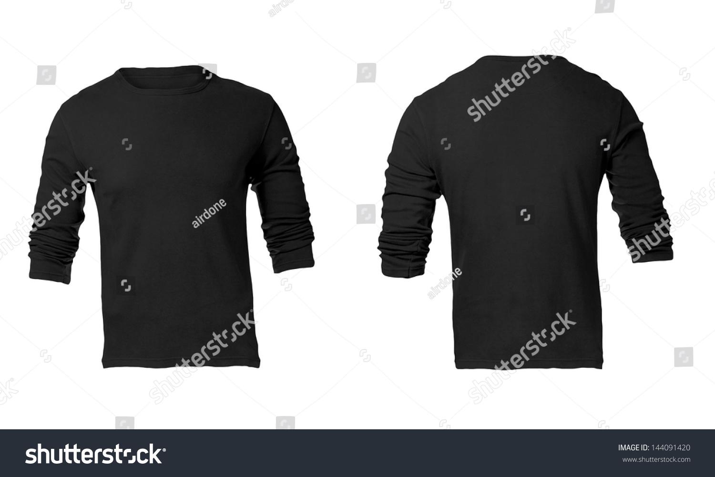men 39 s black long sleeve t shirt template stock photo 144091420 shutterstock. Black Bedroom Furniture Sets. Home Design Ideas