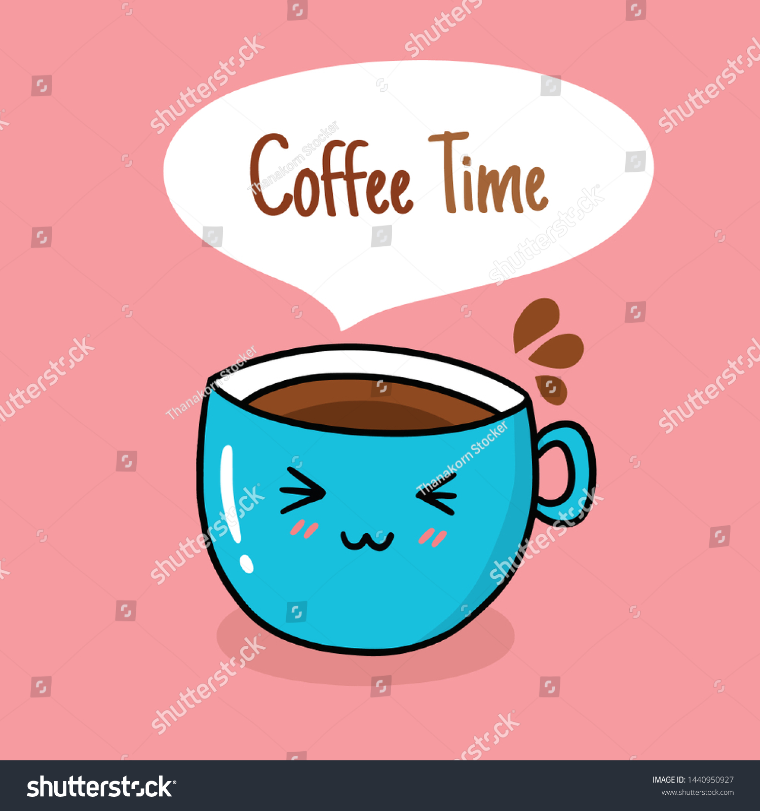Drawing Cute Coffee Cup Doodle Stylevector Stock Vector Royalty Free 1440950927