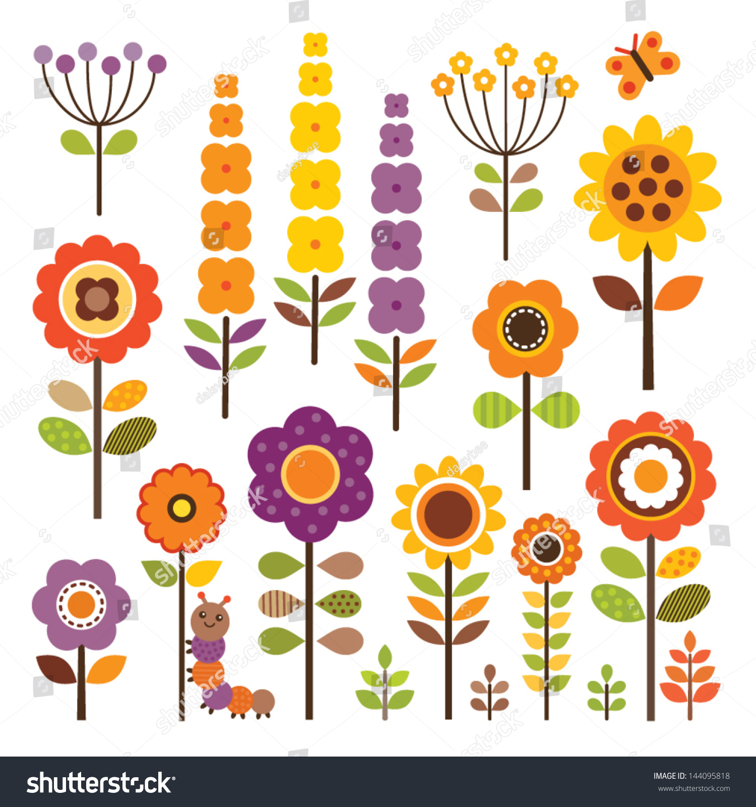 set isolated retro style flowers insects stock vector 144095818
