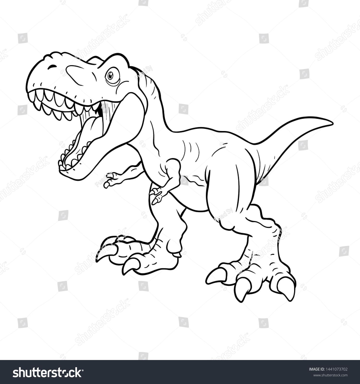 Cute Tyrannosaurus Rex Coloring Page Black Stock Illustration 1441073702