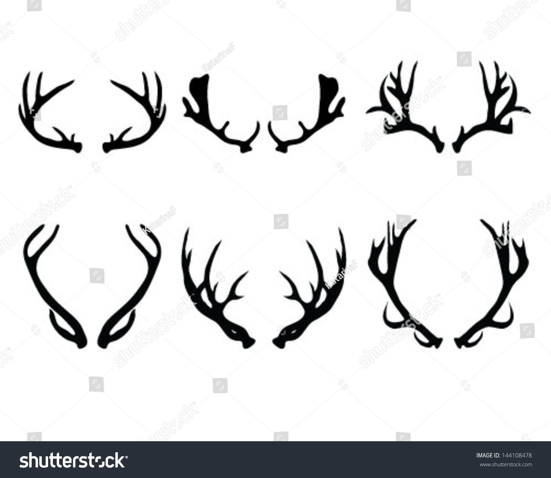Silhouettes Deer Antlersvector Stock Vector 144108478 ...